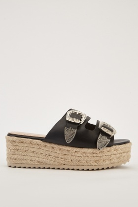 Buckle Strap Faux Leather Sandals dd47af45dc40