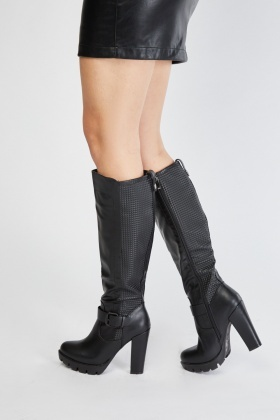Embossed Contrast Heeled Boots