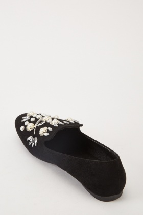 Encrusted Patterned Front Loafers
