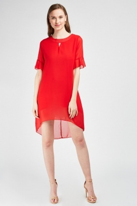 Bell Sleeve Dip-Hem Dress