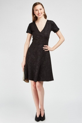 Embossed Flower Wrap Dress