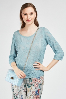 Embroidered Crinkled Mesh Top