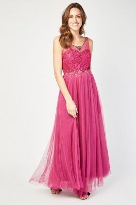 Encrusted Crochet Bodice Maxi Dress 06378e530b63