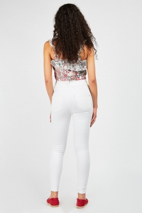 High Waisted Off White Jeans