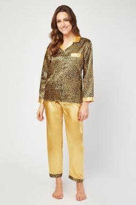 4e352606ee Leopard Print Sateen Pyjama Set