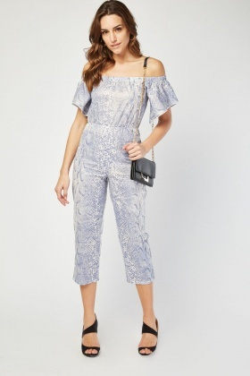 Off Shoulder Snake Print Cropped Jumpsuit