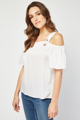 Ruffle Eyelet Trim Cold Shoulder Top