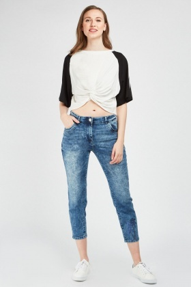 Sequin Palm Embroidered Crop Jeans