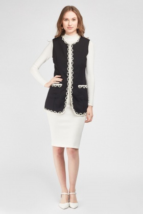 Sleeveless Embellished Duster Coat