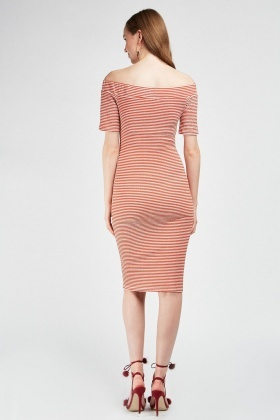 Striped Textured Midi Bardot Dress