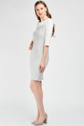 Weave Textured Two-Tone Dress
