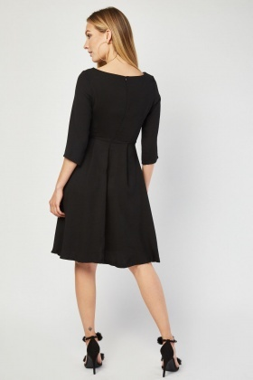 3/4 Sleeve Pleated Dress