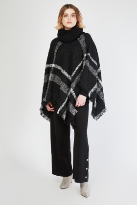 Bobbled Roll Neck Checkered Poncho