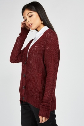 Button Front Herringbone Knit Cardigan