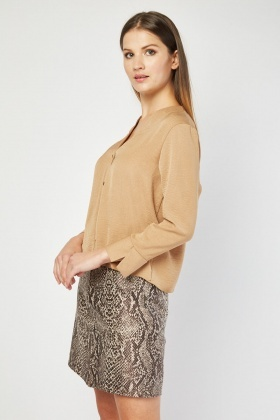 Camel Button Front Blouse