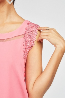 Crochet Trim Sheer Shell Top