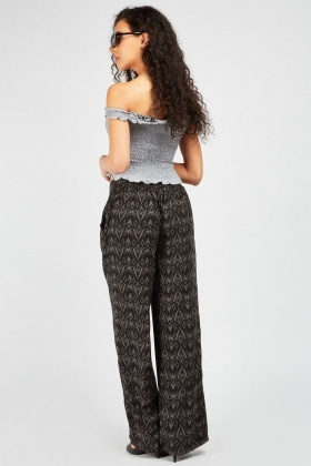 Diamond Print Wide Leg Trousers
