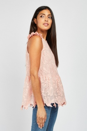 Embroidered Pattern Peplum Top