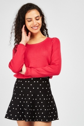 Eyelet Trim Knit Sweater