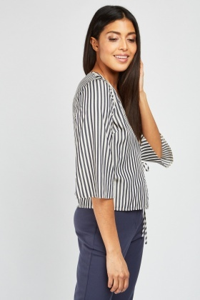c3b9e0af75145 Flare Sleeve Stripe Wrap Top - Navy White - Just £5