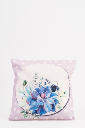 Floral Polka Dot Printed Cushion