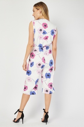 Floral Wrap Crop Jumpsuit