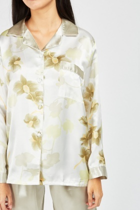 Flower Leaf Print Pyjama Set