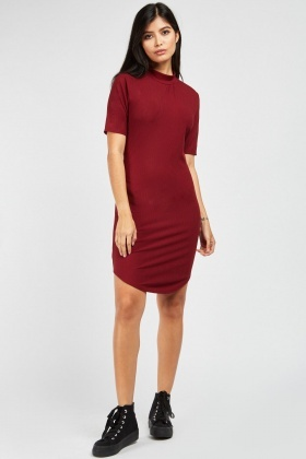 Funnel Neck Rib Dress