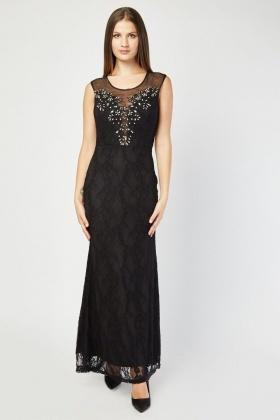 1dc97ab360 Illusion Neck Line Embellished Maxi Dress