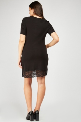 Lace Hem Casual Jersey Dress