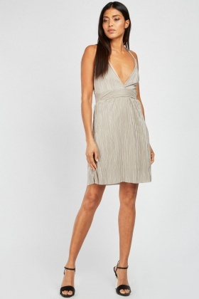 Low Plunge Mini Plisse Dress