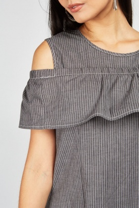 Pin Stripe Cold Shoulder Dress