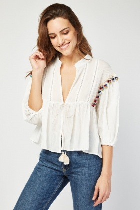 Pom Pom Trim Tie Up Top