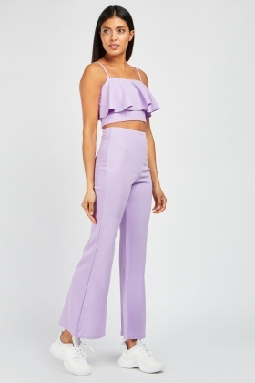 Ruffle Crop Top And Flared Trousers Set