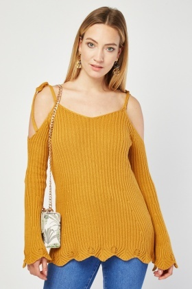 Scallop Trim Cold Shoulder Knit Top