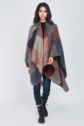 Speckled Colour Block Poncho