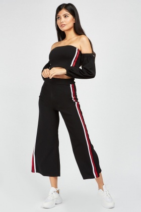 Striped Wide Leg Crop And Jogger Set