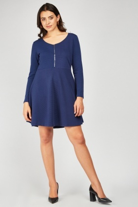 Textured Zipper Front Swing Dress