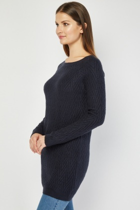 Zig Zag Patterned Knitted Jumper