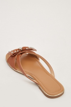 Bow Trim Slip On Sandals