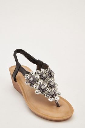 Embellished Wedge Sandals