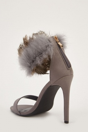 Feather Fur Trim Heel Sandals