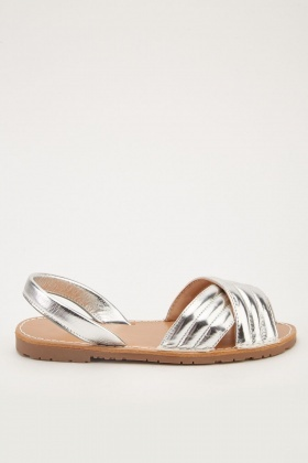 Metallic Cross Strap Flat Sandals