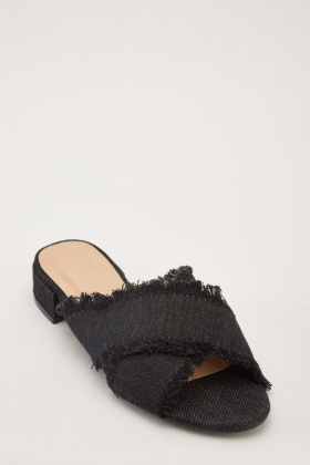 Raw Denim Edge Flat Sandals