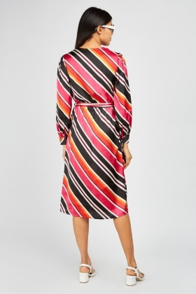 Asymmetric Candy-Stripe Wrap Dress