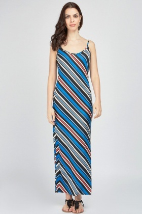 Asymmetric Stripe Slip On Maxi Dress