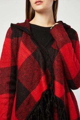 Checkered Waterfall Hooded Knit Cardigan
