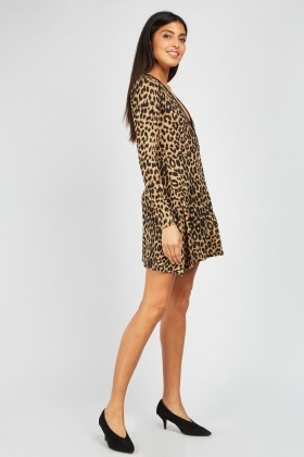 Cheetah Print Wrap Swing Dress