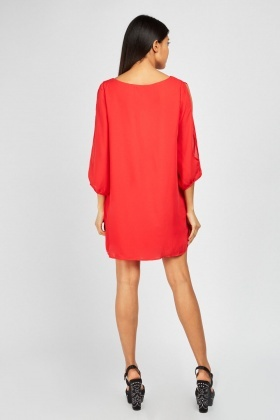 Cut Out Sleeve Shift Dress