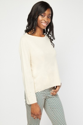 Faux Pearl Encrusted Knit Sweater